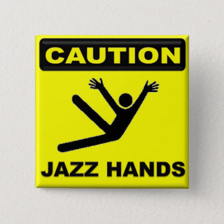 注意ジャズ手 5.1CM 正方形バッジ
