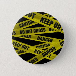 注意テープボタン 5.7CM 丸型バッジ