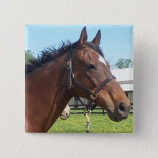 注意深いアラビアの馬Pin 5.1cm 正方形バッジ