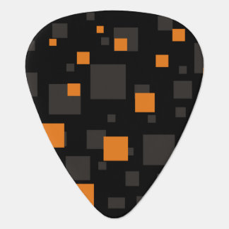 注意深いオレンジギター音楽浮遊物の抽象芸術箱 ギターピック