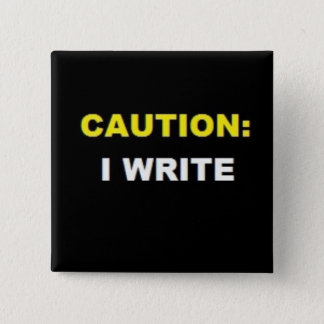 注意: 私は書きます(黄色および白いボタン) 5.1CM 正方形バッジ