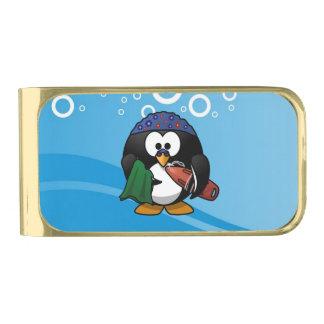 泳ぐ人のペンギン水背景 ゴールド マネークリップ