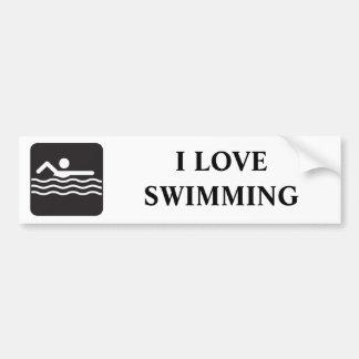 泳ぐ人アイコン バンパーステッカー