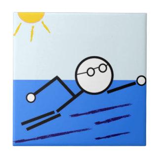 泳ぐ人 タイル