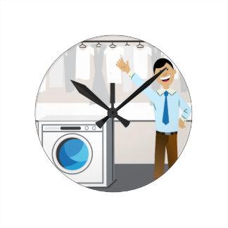 洗濯のビジネスマンの漫画 ラウンド壁時計