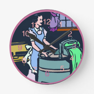 洗濯室の時計 ラウンド壁時計