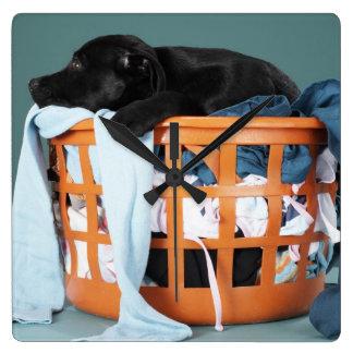 洗濯物入れにあっている子犬 スクエア壁時計