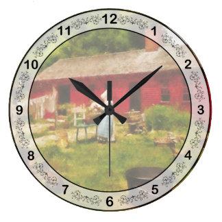 洗濯-古い学校の洗濯 ラージ壁時計