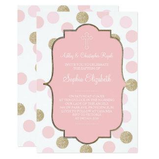 洗礼のピンクの模造のな金ゴールドのグリッターの水玉模様の招待 カード