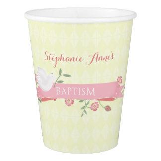 洗礼のピンクの花のリース 紙コップ