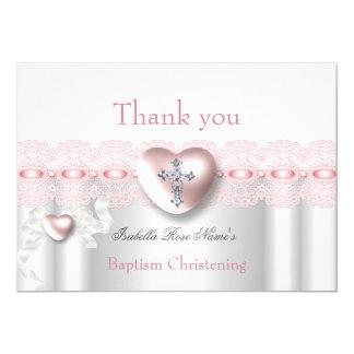 洗礼のピンクの銀製の写真のハートの十字ありがとう カード