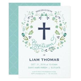 洗礼の招待状-男の子-と… -十字カスタマイズ カード