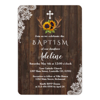 洗礼の招待状| Bohoのヒマワリの(雄ジカの)枝角のレース カード