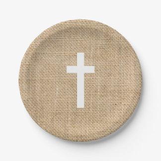 洗礼の紙皿の白い十字の素朴なバーラップ ペーパープレート