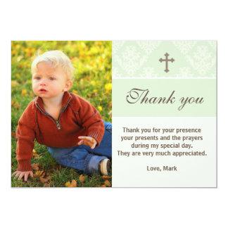 洗礼はノートのカスタムな写真カードミント感謝していしています 12.7 X 17.8 インビテーションカード