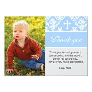 洗礼はノートのカスタムな写真カード青感謝していしています カード
