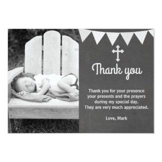洗礼はノートの写真カード灰色の黒板感謝していしています 12.7 X 17.8 インビテーションカード