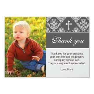 洗礼は灰色の写真カードに洗礼を施すノート感謝していしています 12.7 X 17.8 インビテーションカード