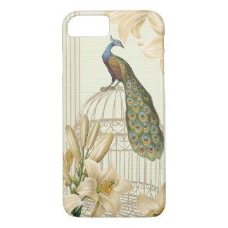 洗練されたヴィンテージの孔雀の鳥かごユリ iPhone 8/7ケース