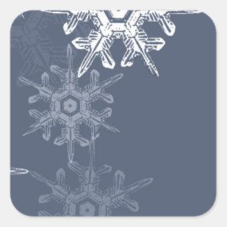 洗練された青か灰色の雪片 スクエアシール
