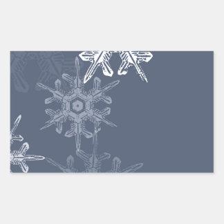 洗練された青か灰色の雪片 長方形シール