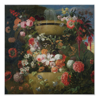 洗面器および花 ポスター