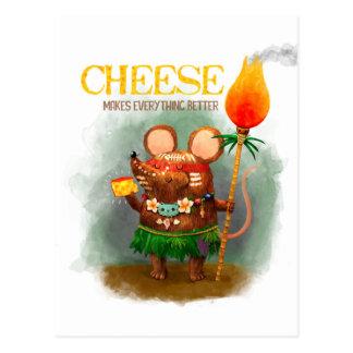 洞窟のマウスおよびチーズ ポストカード