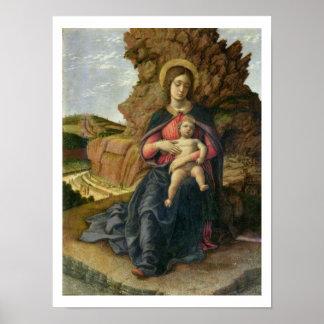 洞窟のマドンナ、1488-90年(パネルのテンペラ) ポスター