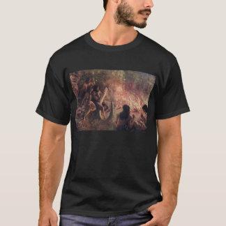 洞窟人の有史以前の場面旧式なプリント Tシャツ