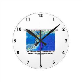 津波のプエルトリコの堀(プレート造構論の地球) ラウンド壁時計