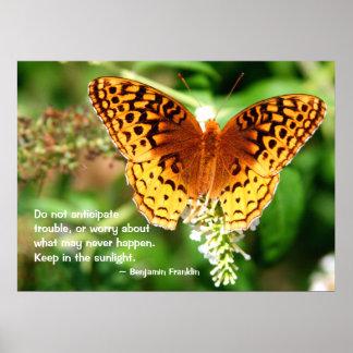 活気づけるな引用文は日光のオレンジの蝶で保ちます ポスター