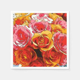 活気に満ちた豊富なオレンジおよびピンクのバラ スタンダードカクテルナプキン
