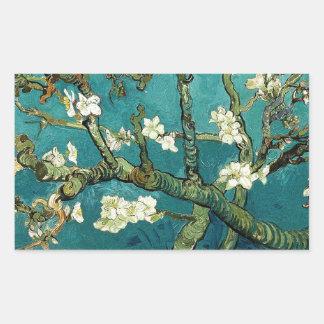 活気付くアーモンド木のヴィンテージの花柄ゴッホ 長方形シール