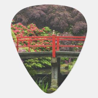 活気付くシャクナゲが付いているハート橋、 ギターピック