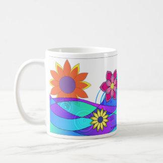 派手なヒッピーの花 コーヒーマグカップ