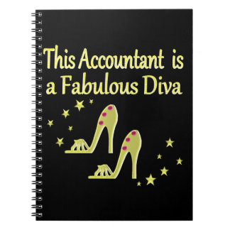 派手な金ゴールドの会計士の花型女性歌手のデザイン ノートブック