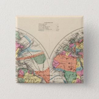 流れおよび貿易風が付いている世界地図の地図 5.1CM 正方形バッジ