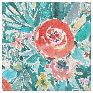 流れの花のカラフルなBohoのお洒落な水彩画 ファブリック