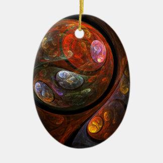 流動つながりの抽象美術の楕円形のオーナメント セラミックオーナメント