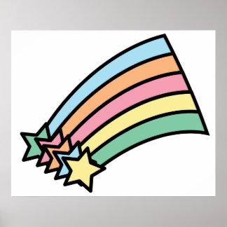 流星および虹のプリント ポスター
