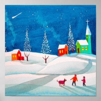 流星の民俗純真な芸術の冬の雪場面 ポスター