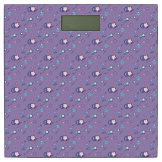 流星及び彗星のパステル調の紫色の重量のスケール 体重計