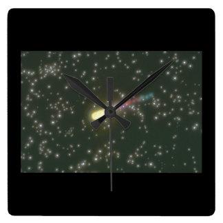 流星。 (流星; 宇宙; 星; galaxy_Space場面 スクエア壁時計