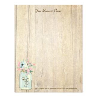 流木の納屋の木製の素朴なメーソンジャーの庭の花柄 レターヘッド