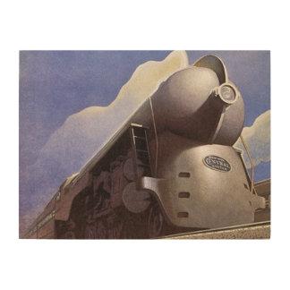 流線形の蒸気機関車 ウッドウォールアート
