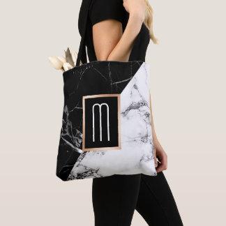 流行の白黒の大理石の質のモノグラム トートバッグ