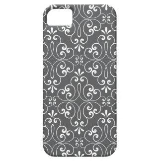 流行の華美なダマスク織パターン白および灰色 iPhone SE/5/5s ケース