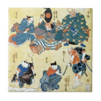流行猫の狂言づくし、猫、Kuniyoshiの浮世絵の国芳俳優 タイル