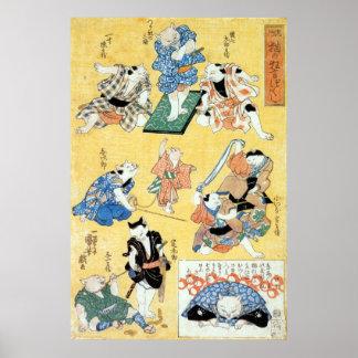 流行猫の狂言づくし、猫、Kuniyoshiの浮世絵の国芳俳優 ポスター