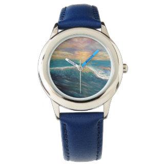 浜に引き上げて下さい、波を浜に引き上げて下さい、波、サーフするビーチの波振って下さい 腕時計